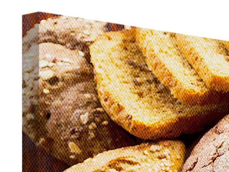 Leinwandbild 4-teilig Brotsortiment