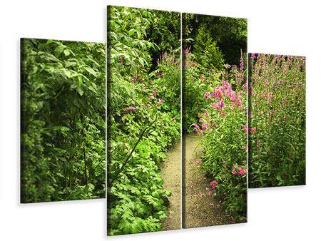 Leinwandbild 4-teilig Gartenweg