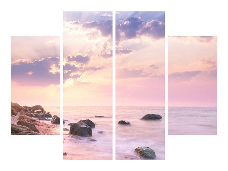 Leinwandbild 4-teilig Sonnenaufgang am Meer