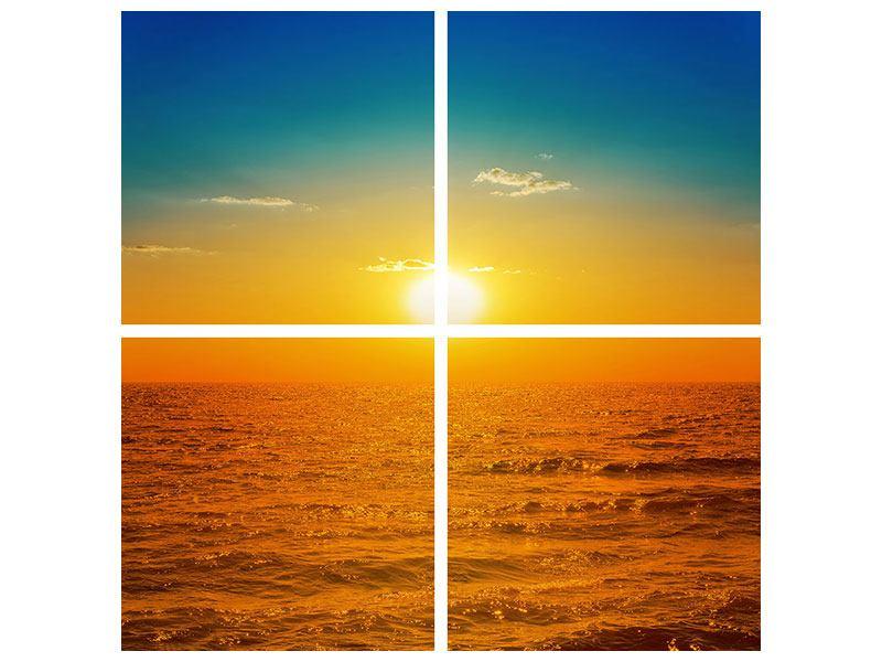 Leinwandbild 4-teilig Das Meer im Sonnenuntergang