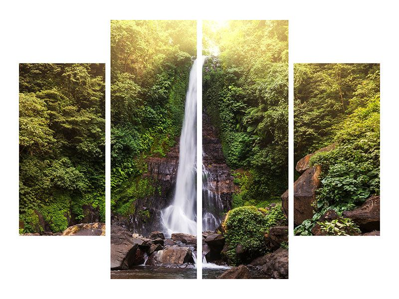 Leinwandbild 4-teilig Wasserfall Bali
