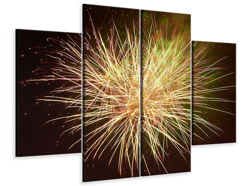 Leinwandbild 4-teilig Feuerwerk XXL