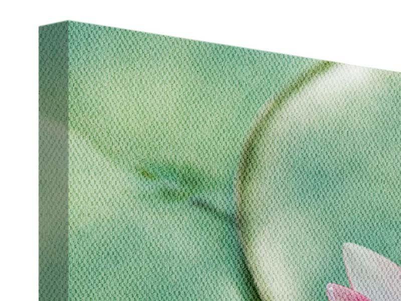 Leinwandbild 4-teilig Der Frosch und das Lotusblatt