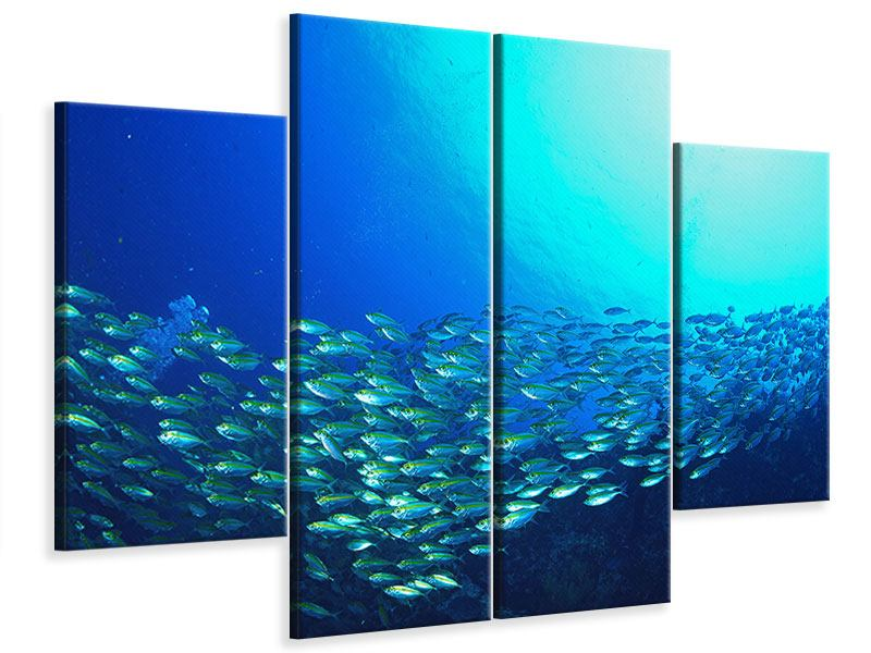 Leinwandbild 4-teilig Fischschwarm