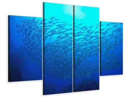 Leinwandbild 4-teilig Fischwelt