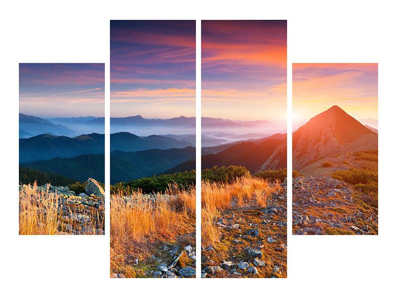 Leinwandbild 4-teilig Sonnenuntergang in den Alpen