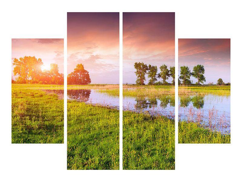 Leinwandbild 4-teilig Sonnenuntergang am See