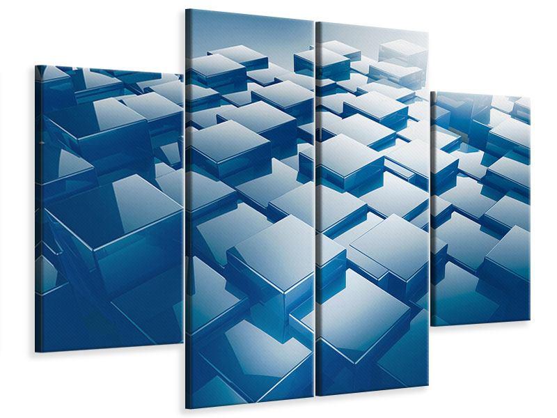Leinwandbild 4-teilig 3D-Cubes