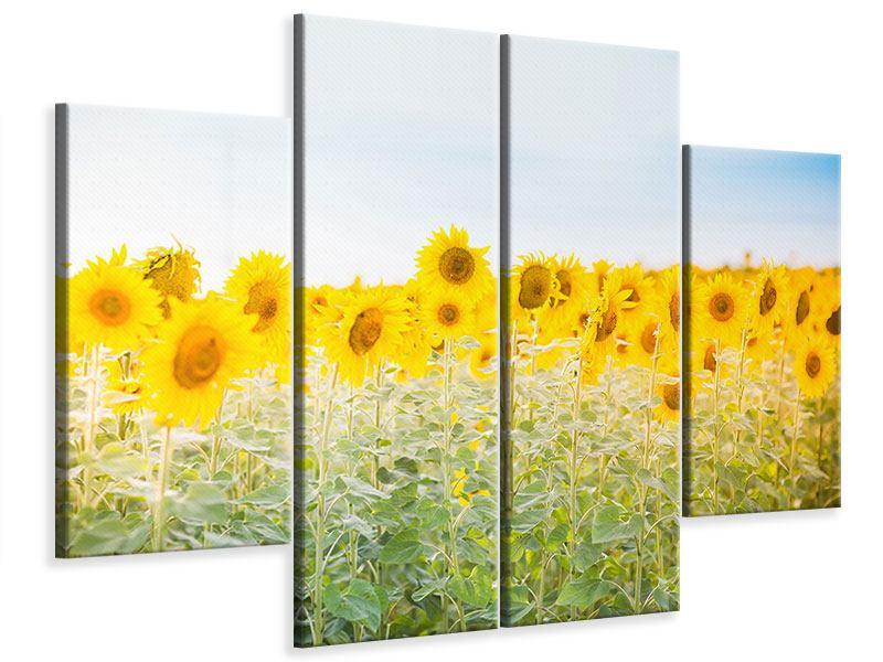 Leinwandbild 4-teilig Im Sonnenblumenfeld