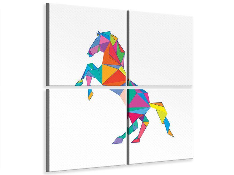 Leinwandbild 4-teilig Origami Pferd