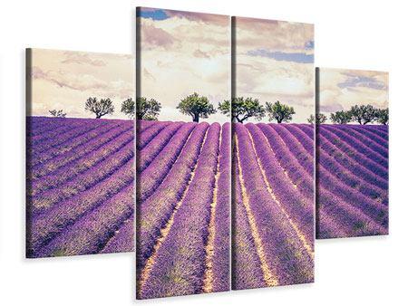 Leinwandbild 4-teilig Das Lavendelfeld