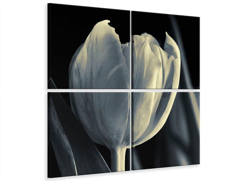 Leinwandbild 4-teilig Schwarzweissfotografie XXL Tulpe