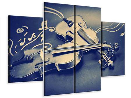 Leinwandbild 4-teilig Geigen