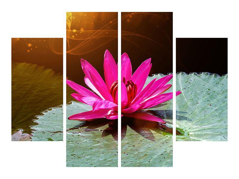 Leinwandbild 4-teilig Der Frosch und das Seerosenblatt