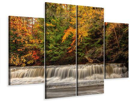 Leinwandbild 4-teilig Herbst beim Wasserfall