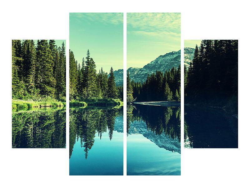 Leinwandbild 4-teilig Die Musik der Stille in den Bergen