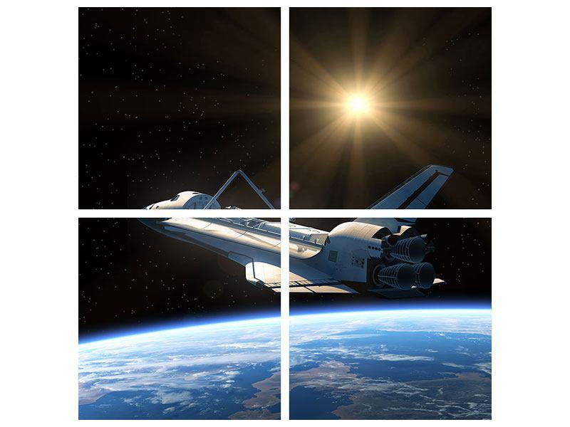 Leinwandbild 4-teilig Das Raumschiff