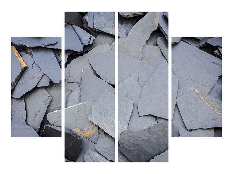 Leinwandbild 4-teilig Schieferplatten