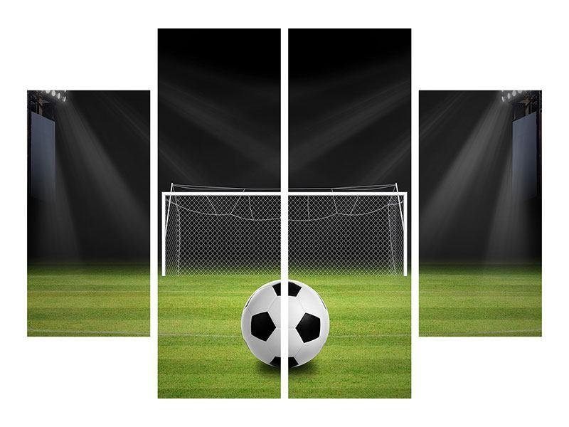 Leinwandbild 4-teilig Fussball-Tor