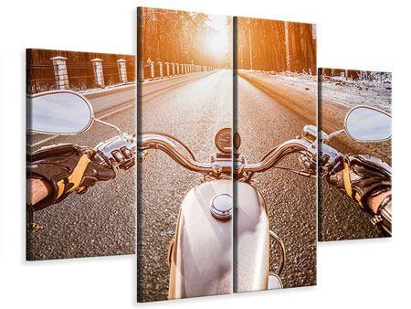 Leinwandbild 4-teilig Auf dem Motorrad
