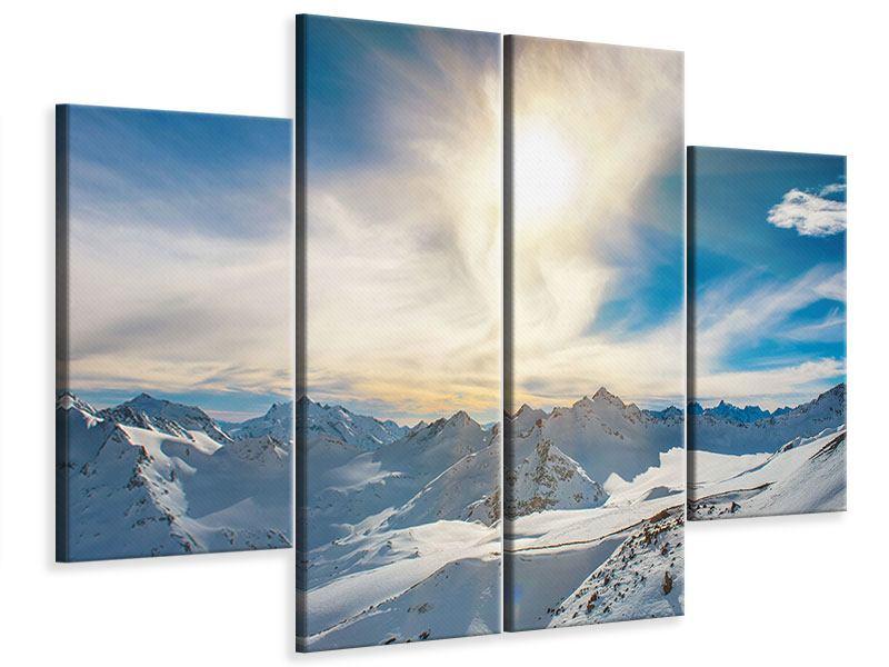 Leinwandbild 4-teilig Über den verschneiten Gipfeln
