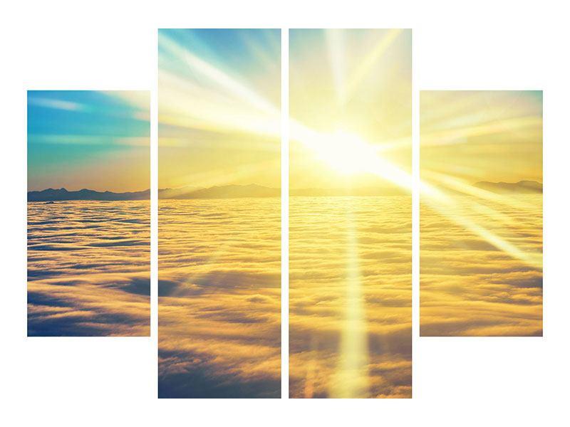 Leinwandbild 4-teilig Sonnenuntergang über den Wolken