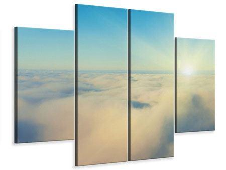 Leinwandbild 4-teilig Dämmerung über den Wolken