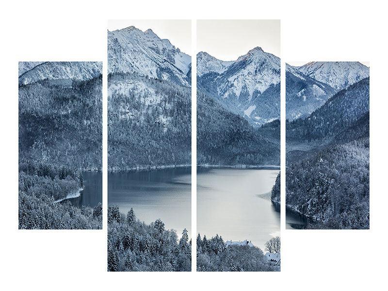 Leinwandbild 4-teilig Schwarzweissfotografie Berge