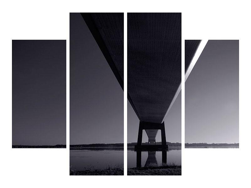 Leinwandbild 4-teilig Die Brücke über tiefes Wasser