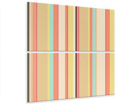 Leinwandbild 4-teilig Pastell Streifen