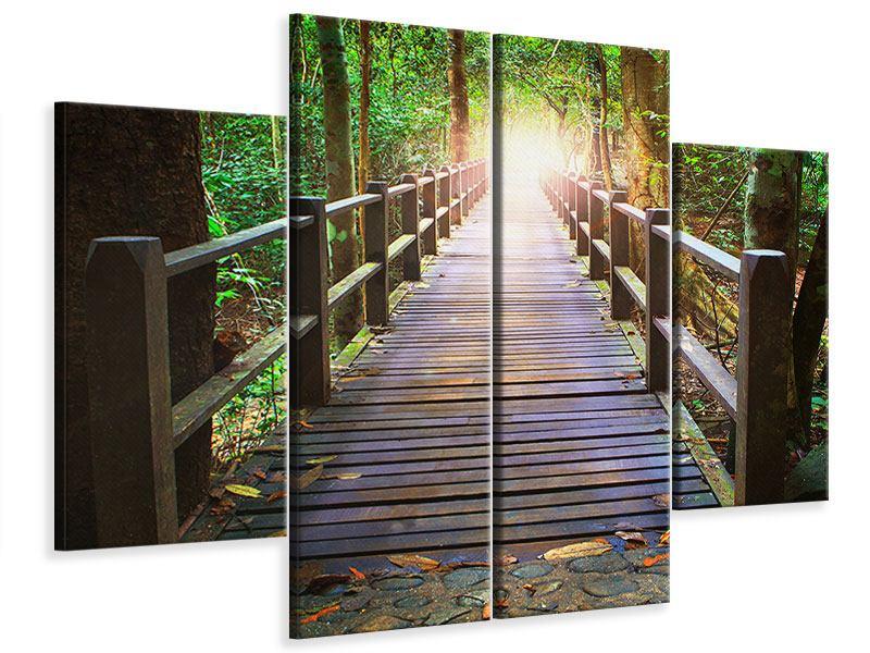 Leinwandbild 4-teilig Die Brücke im Wald