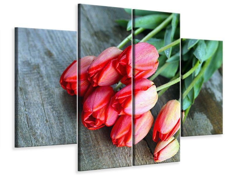 Leinwandbild 4-teilig Der rote Tulpenstrauss
