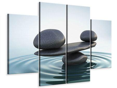 Leinwandbild 4-teilig Steinbalance