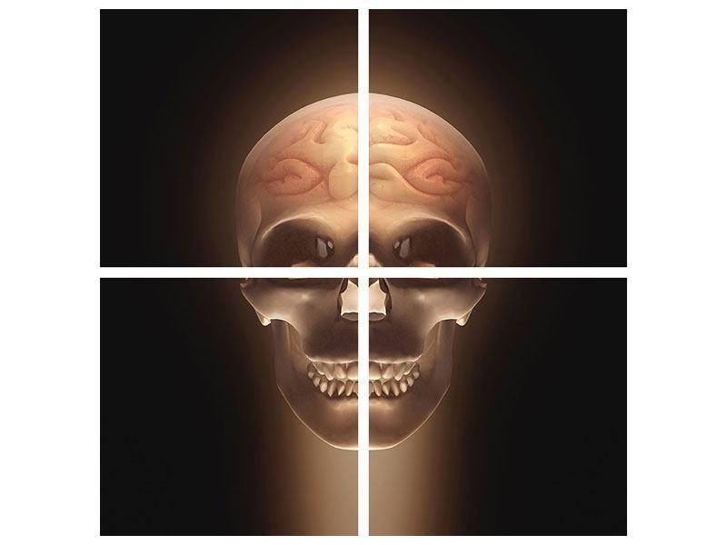 Leinwandbild 4-teilig Schädel