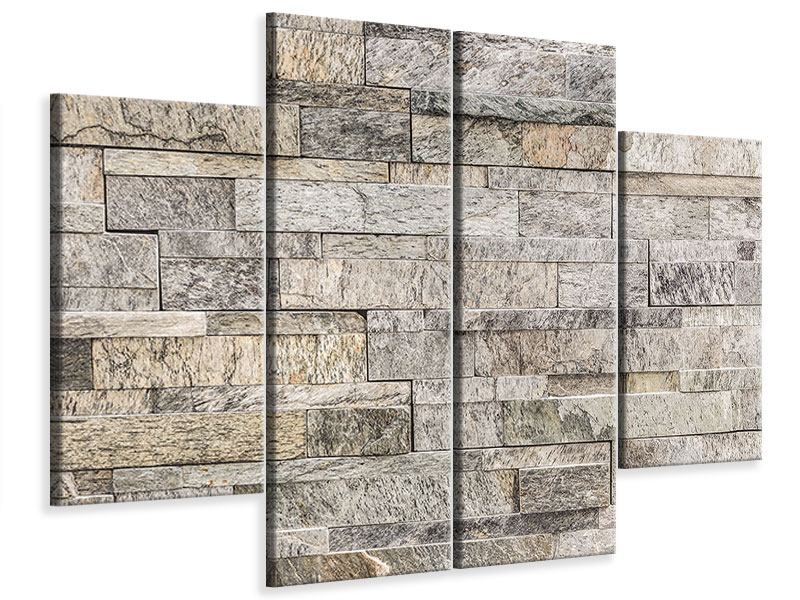 4 Piece Canvas Print Elegant Stone Wall