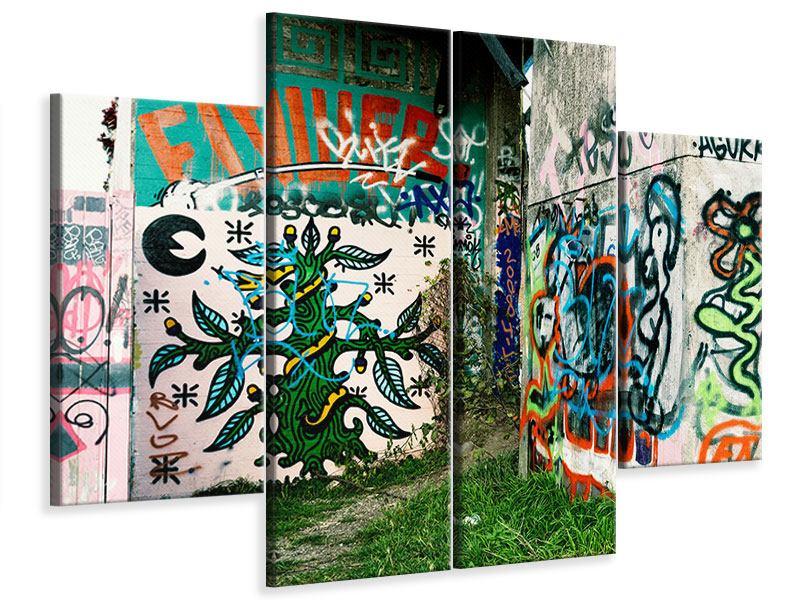 Leinwandbild 4-teilig Graffiti im Hinterhof