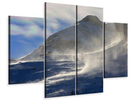 Leinwandbild 4-teilig Mit Schneeverwehungen den Berg in Szene gesetzt