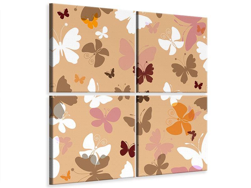 Leinwandbild 4-teilig Retrodesign Schmetterlinge