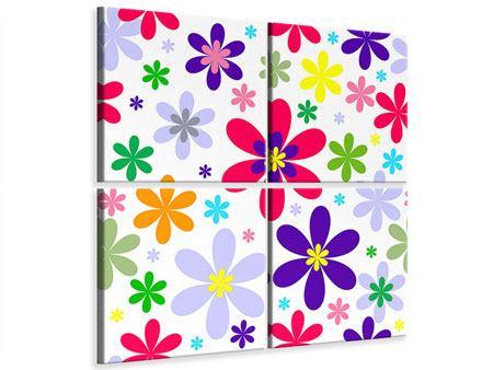 Leinwandbild 4-teilig Retromode Blumen