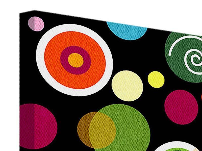 Leinwandbild 4-teilig Bunte Retrolook Kreise