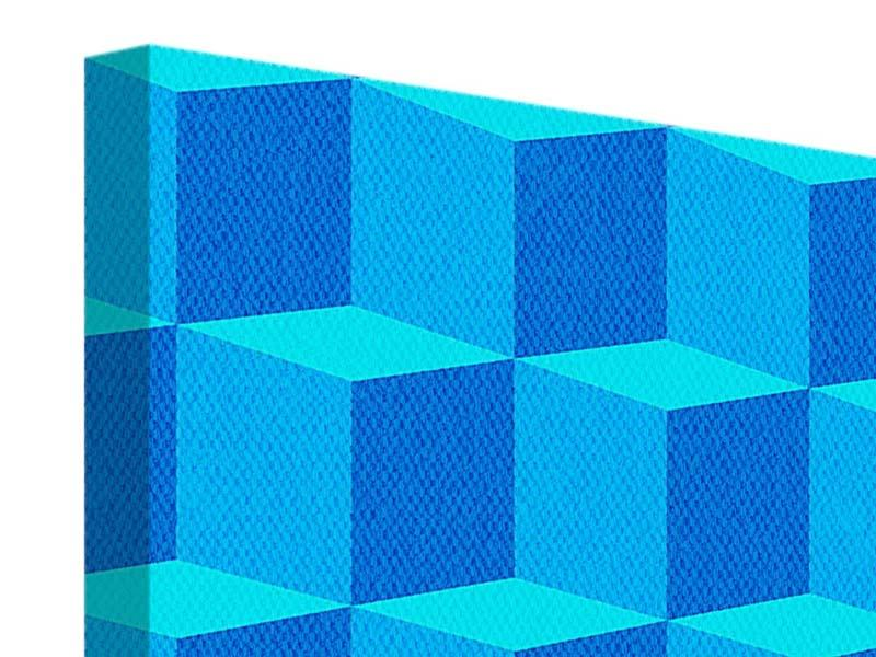 Leinwandbild 4-teilig 3D-Würfel Türkis
