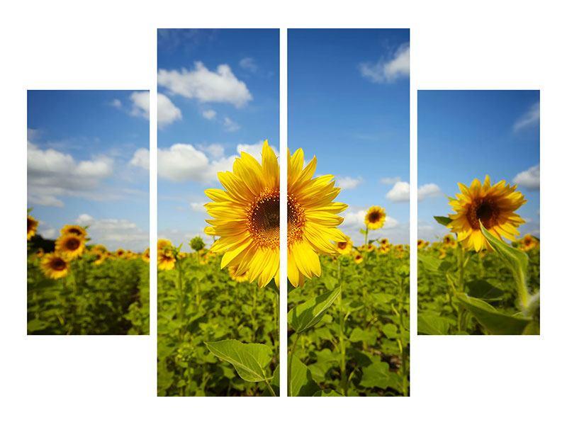 Leinwandbild 4-teilig Sommer-Sonnenblumen