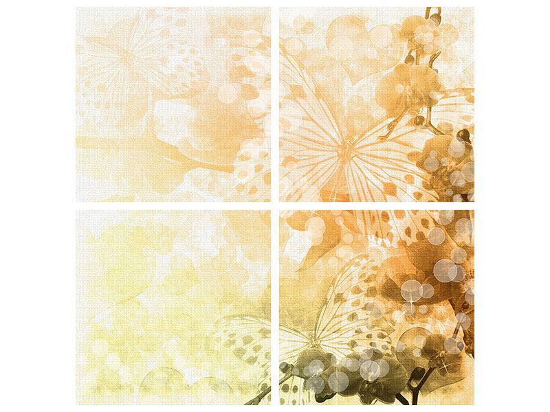 Leinwandbild 4-teilig Romantische Schmetterlinge