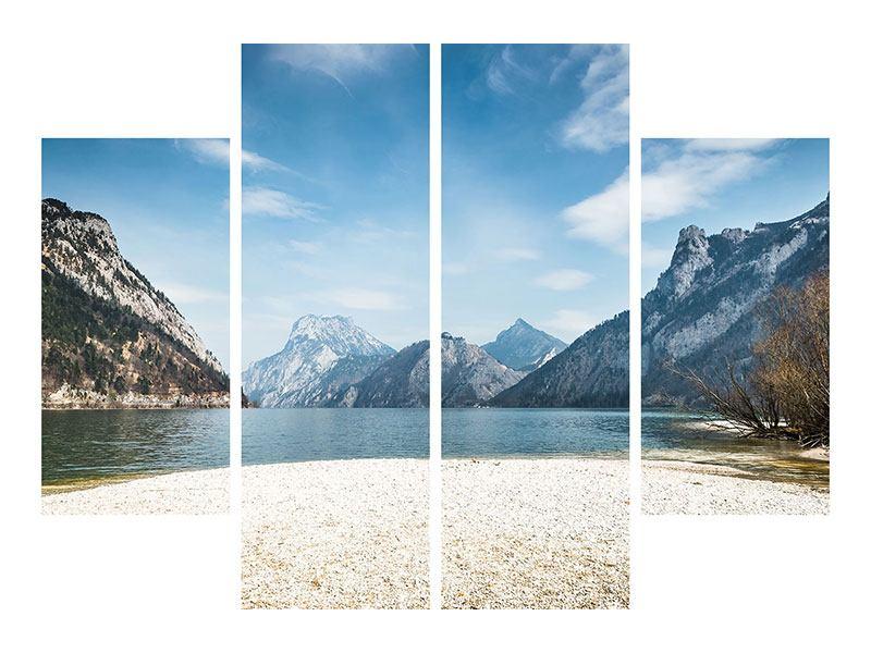 Leinwandbild 4-teilig Der idyllische Bergsee