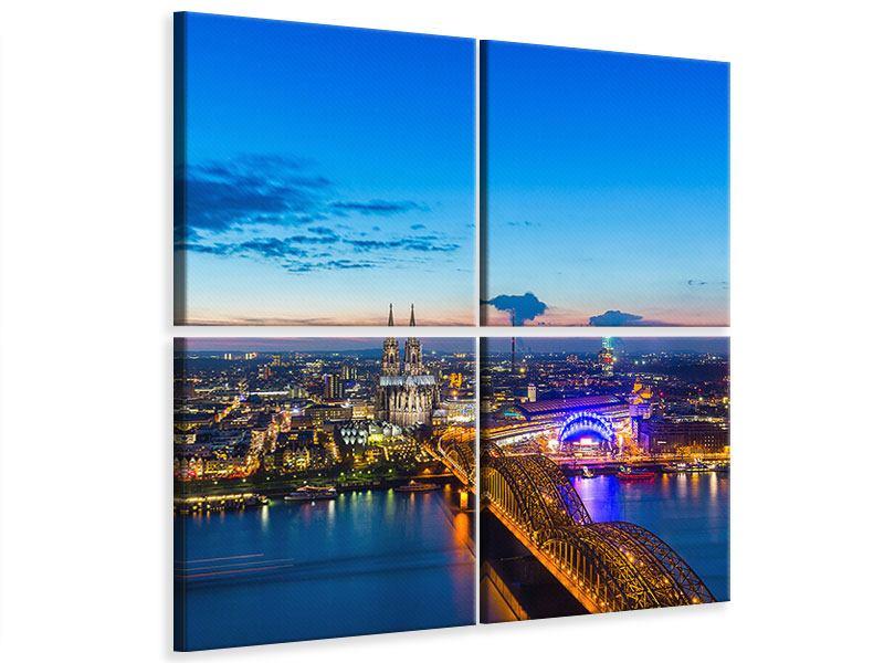 Leinwandbild 4-teilig Skyline Ein Penthouse in Köln