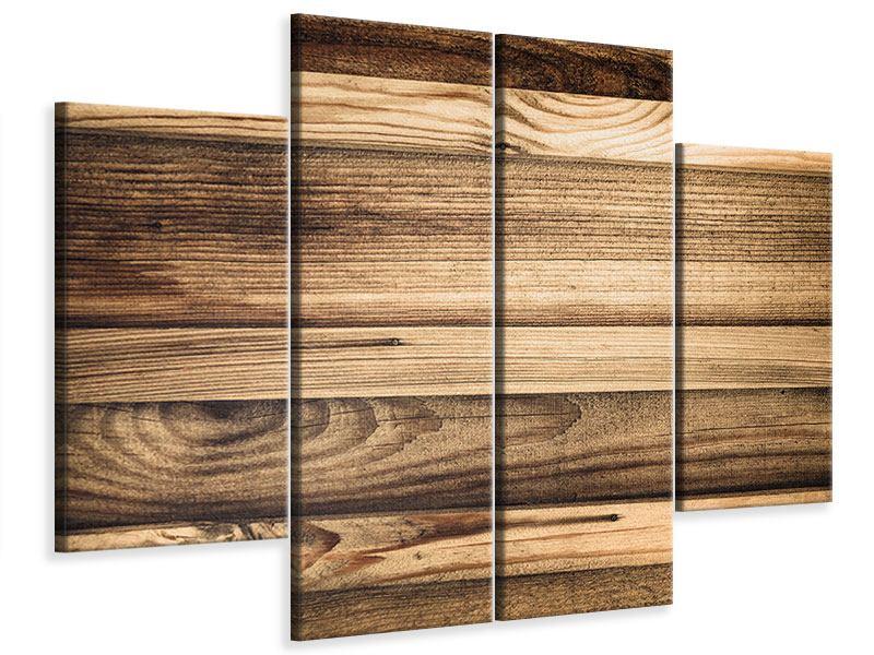 Leinwandbild 4-teilig Holztrend