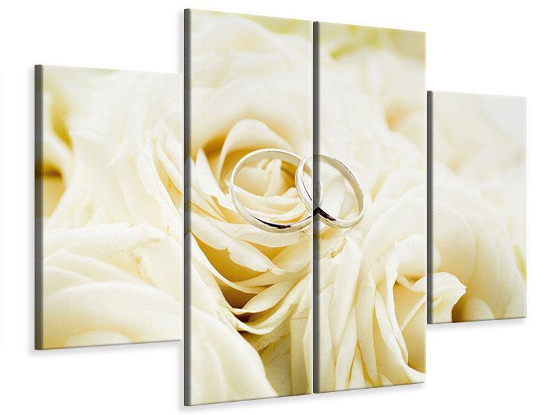 Leinwandbild 4-teilig Trauringe auf Rosen gebettet