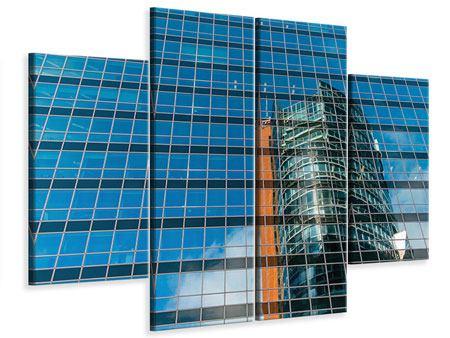 Leinwandbild 4-teilig Wolkenkratzer-Spiegel