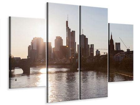 Leinwandbild 4-teilig Skyline Sonnenaufgang bei Frankfurt am Main
