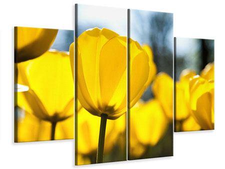 Leinwandbild 4-teilig Gelbe Tulpen in XXL